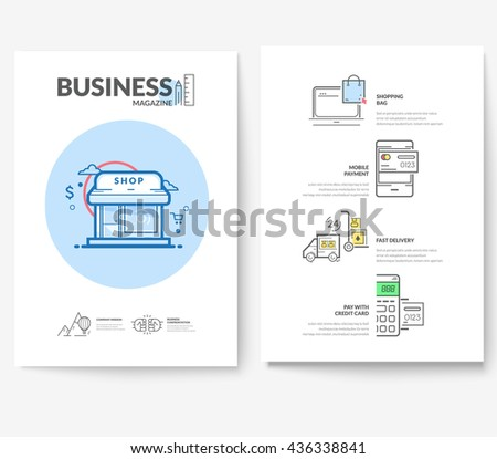 Business brochure flyer design layout template, with concept icons: Advertising, online shop payment. - stock vector
