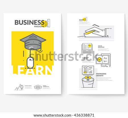 Business brochure flyer design layout template, with concept icons: E-learning. - stock vector