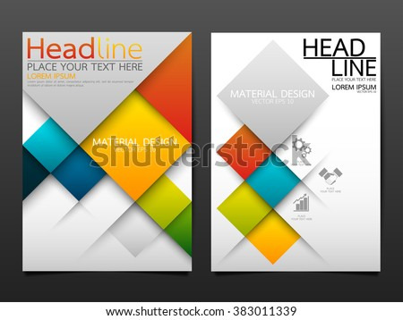 business brochure flyer design template vector.geometric square material background.layout in A4 size - stock vector