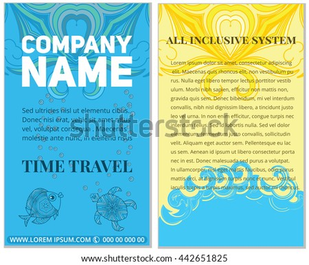 Business brochure template design. Vector flyer layout with elements Doodle magazine, cover, poster design. summer rest