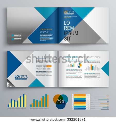 Business brochure template design with white, blue and gray square pattern. Cover layout and infographics