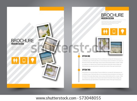 Business brochure template. Flyer design. Annual report cover. Booklet for education, advertisement, presentation, magazine page. a4 size vector illustration. Orange color.