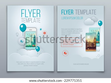 Business Brochure Template With Smartphone. Vector Background - stock vector