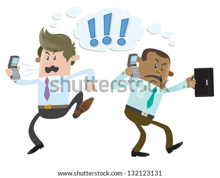Business Buddies have a heated debate on the telephone - stock vector