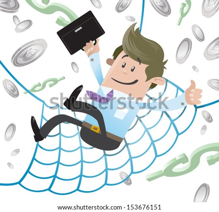 Business Buddy has a Financial Safety Net.  - stock vector