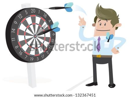 Business Buddy Hits a Bullseye. - stock vector