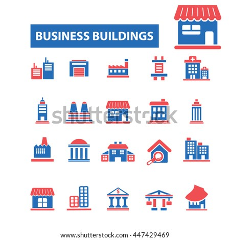 business building, house, home, city, urban, real estate, suburb, downtown, cityscape, skyscraper, architecture, construction, residential icons, signs concept vector - stock vector