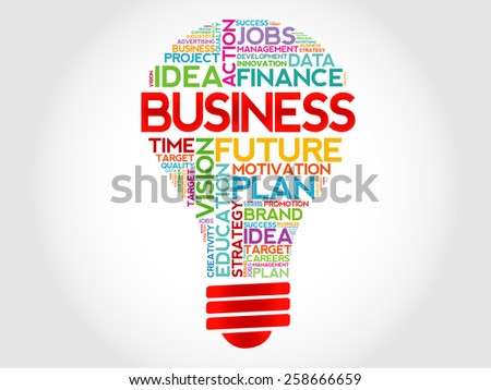 BUSINESS bulb word cloud concept - stock vector