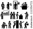 Business Businessman Employee Worker Office Colleague Workplace Working Icon Symbol Sign Pictogram - stock