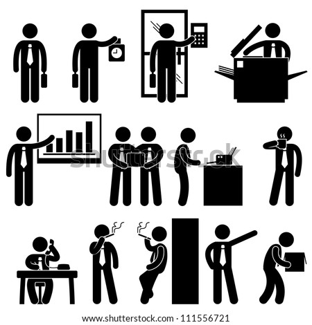 Business Businessman Employee Worker Office Colleague Workplace Working Icon Symbol Sign Pictogram - stock vector