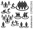 Business Businessman People Network Relationship Company Connection Stick Figure Pictogram Icon - stock photo