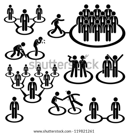 Business Businessman People Network Relationship Company Connection Stick Figure Pictogram Icon - stock vector