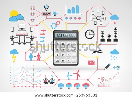 business calculations with blue red info graphic icons and graphs around vector background for web and media design collection illustration - stock vector
