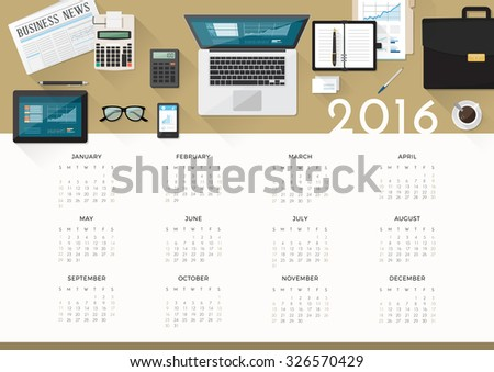 Business calendar 2016, desktop top view with laptop and working tools - stock vector