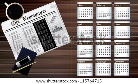 business calendar of 2013 - stock vector