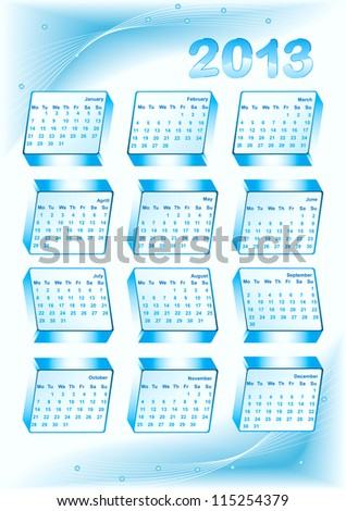 Business calendar 2013 with abstract blue background - stock vector