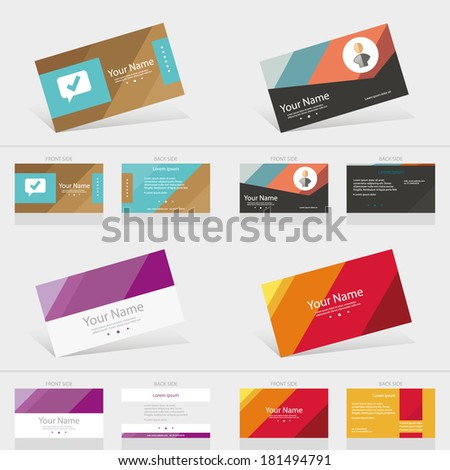 Business card abstract background templete set. Vector illustration. - stock vector