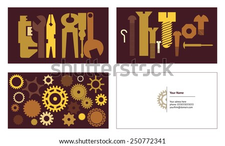 Business card abstract engineering background. Vector illustration. - stock vector