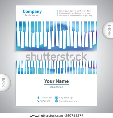 business card - abstract musical piano keys - company presentations - stock vector