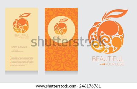 Business card and logo template in orange colors, beautiful fruit design, vector illustration
