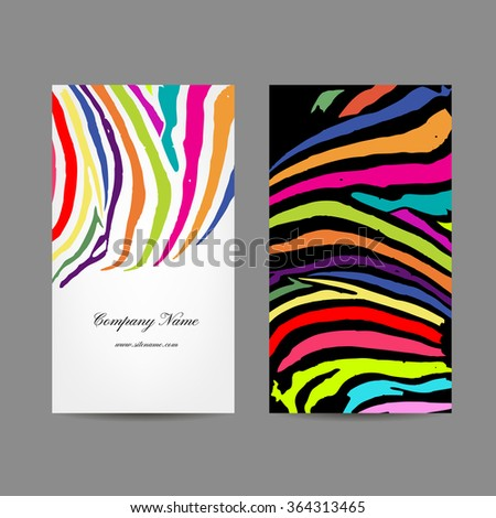 Business card, colorful zebra print design - stock vector