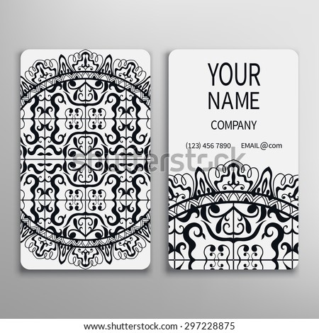 Business card, decorative mandala ornamental invitation collection. Hand drawn Islam, Arabic, Indian pattern. Black and white. - stock vector