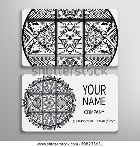 Business card, decorative round mandala ornament invitation collection. Hand drawn Arabic Indian lace pattern. Black and white - stock vector
