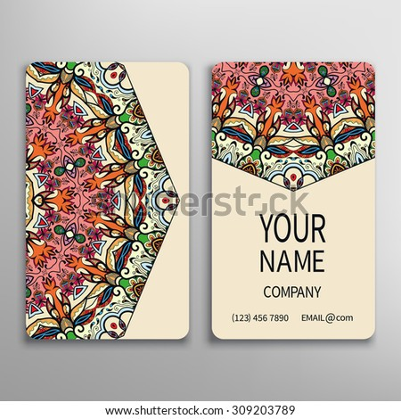 Business card, decorative round mandala ornament invitation collection Hand drawn Arabic Indian lace pattern - stock vector