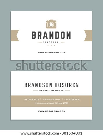 business card design photographer logo template stock vector
