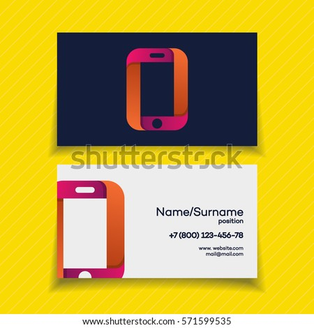 business card design template phone logo stock vector 571599535