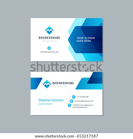 Business card design trendy blue colors stock vector royalty free business card design trendy blue colors template modern corporate branding style vector illustration two sides colourmoves