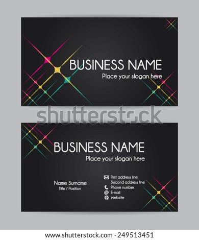 Business card. Flat design. Front and back. Vector set III. - stock vector