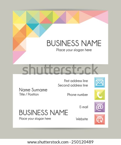 Business card. Flat design. Front and back. Vector set VII  - stock vector
