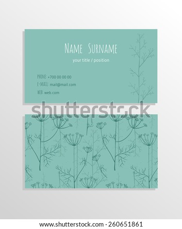 Business card. For cafe and restaurant or flower shop - stock vector