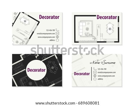 Business card decorator interior designer architect stock vector hd business card for decorator interior designer architect reheart Images
