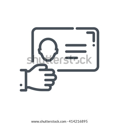 Business card icon suitable for info graphics, websites and print media and  interfaces. Hand drawn style, pixel perfect line vector icon. - stock vector