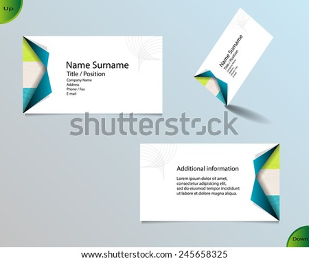 Business card layout with modern white color and pallet of trendy colors and ornaments made from rings with fold of two corners on side and with important writing on the main board.  - stock vector