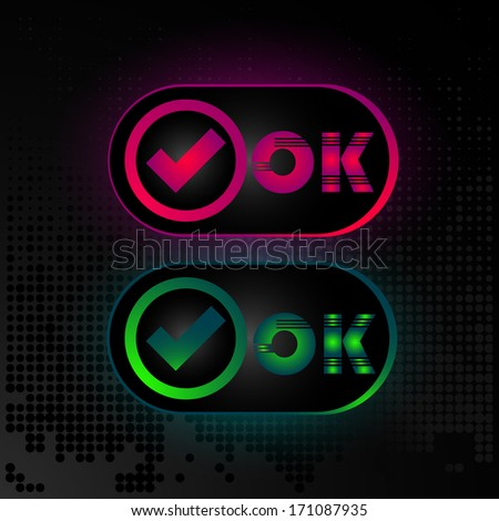Business card or button OK, accepted icon, website element - stock vector
