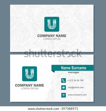 Business card visiting card template logo stock vector 397388971 business card or visiting card template with logo element letter u multicolor vector design editable wajeb Gallery