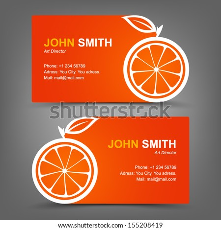 Business card orange - stock vector