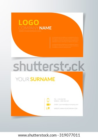 Business Card Orange Curve Line Element Vector Background On White Space With Text Sample
