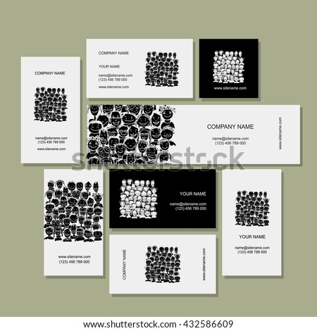 Business card, people crowd for your design. Vector illustration - stock vector