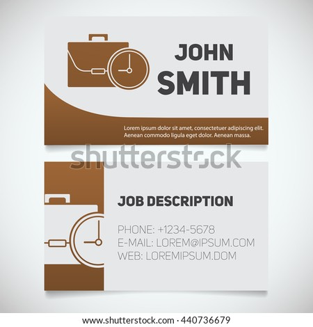 Business card print template with briefcase and clock logo. Easy edit. Manager. Work management. Businessman. Stationery design concept. Vector illustration - stock vector