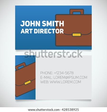 Business card print template with briefcase logo. Businessman. Diplomat. Stationery design concept. Vector illustration - stock vector