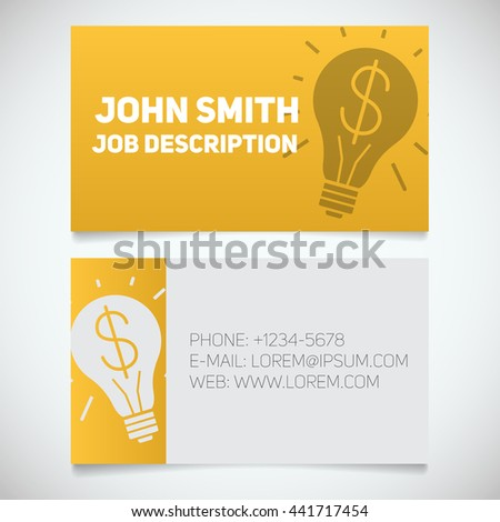 Business Card Print Template Light Bulb Stock Vector