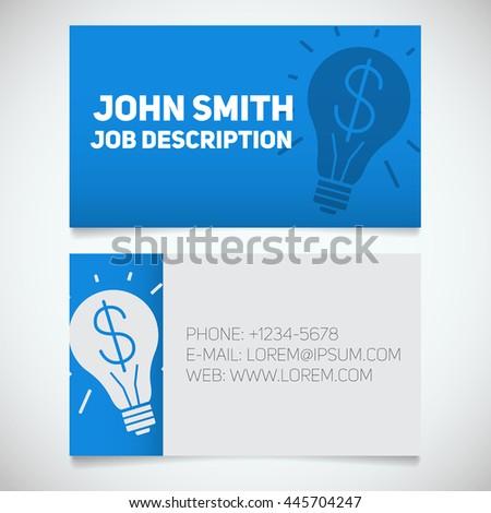 Business card print template light bulb stock vector 445704247 business card print template with light bulb and dollar logo easy edit creative director reheart Gallery