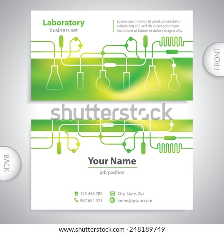business card - science and research - laboratory background - stock vector