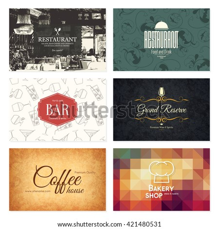 Business card set. 6 bright visiting cards. Food and drink theme. For cafe, coffee house, restaurant, bar - stock vector