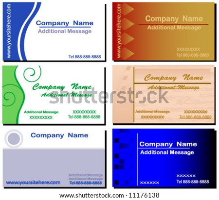 Business Card set. Cards are Individually grouped.