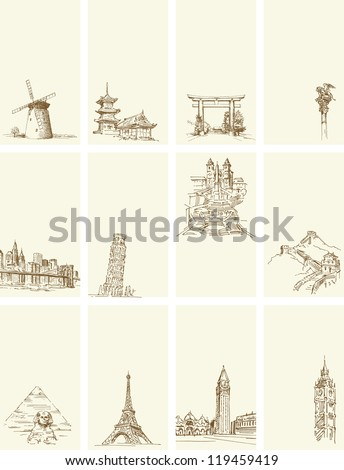 business card - set of hand drawn illustration -all over the world - stock vector